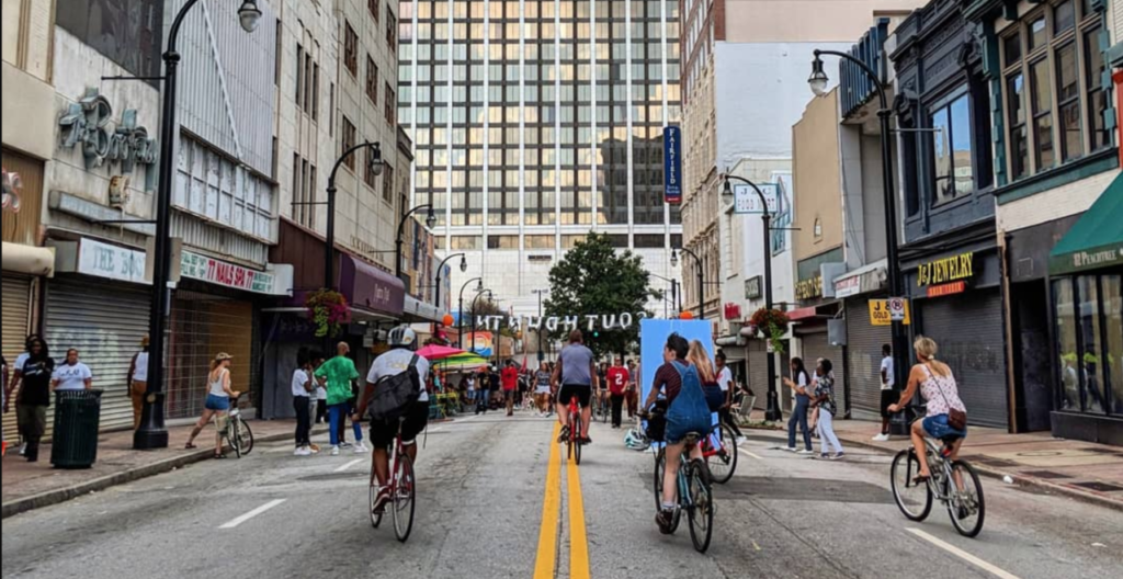 Cyclists on Peachtree Street this summer during Streets Alive